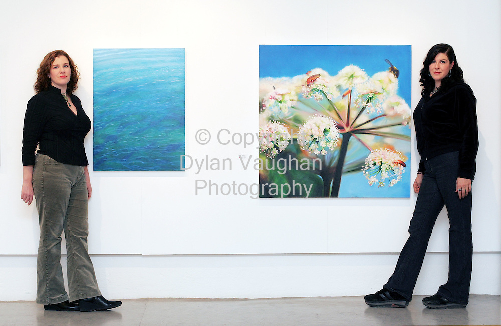 "21/11/2005.Blawnin (left) and Rayleen Clancy pictured with work Ocean Ripple (left by Blawnin) and Gathering (right by Rayleen) at their exhibition ""Natural History-Áilleacht Chroí at the Greyfriars Municipal Art Gallery in Waterford..Picture Dylan Vaughan."