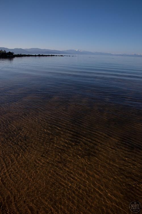 """Kings Beach, Lake Tahoe"" - This shallow sandy beach was photographed at Kings Beach, Lake Tahoe."