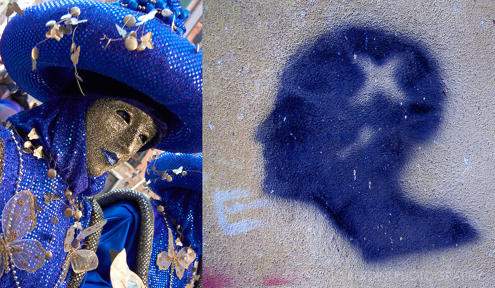 Venice Carnival. The masks wandering on Venice alleys meets graffiti on the wall resulting in colourful clash of traditions.
