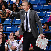 Westchester Knicks Head Coach MIKE MILLER points to a spot on the floor in the second half of a NBA D-league regular season finale between the Delaware 87ers and the Westchester Knicks Friday, Apr. 01, 2016, at The Bob Carpenter Sports Convocation Center in Newark, DEL.<br /> <br /> The Westchester Knicks will open up post season play verses the sioux skyforce Tuesday, Apr 5, 2016, at The Westchester County Center in White Plains, NY.
