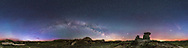 A 360&deg; and horizon-to-zenith panorama of the spring sky over the badlands at Dinosaur Provincial Park, Alberta, May 25. 2016. I shot this just before moonrise of the waning gibbous Moon. <br /> <br /> Mars is the bright object right of centre, then near opposition and at its brightest. Jupiter is low at far right, setting with Leo into the west. Saturn is dimmer and just left of Mars with Mars and Saturn above Antares in Scorpius in the south. The summer Milky Way is rising across the east and into the southeast at left. The Andromeda Galaxy is just above the horizon at left of centre. The Summer Triangle stars are at centre. Arcturus is at upper right, with Spica and the stars of Corvus near the foreground hoodoo.<br /> <br /> The northern sky at left is brightened with twilight glow, despite this being taken at midnight. At this latitude of 51&deg; north the sky never gets fully dark on late spring and early summer nights.<br /> <br /> One prominent satellite trail, interrupted by the gap between exposures of the frames it was in, is at left, plus the sky has many others! At this time of year they are well lit by the Sun even at midnight.<br /> <br /> The horizon is marked by light pollution glows from Calgary (far right) and Brooks (near centre). <br /> <br /> The display building for the Trail of the Fossil Hunters trail is at far left. <br /> <br /> This is a stitch of 44 panels, taken in 4 tiers of 11 segments each, shot with the motorized iOptron iPano mount, using its Circular mode. I used the 35mm Canon lens at f/2.8 for 30-second exposures with the Canon 6D at ISO 6400. Developed in Camera Raw, stitched with PTGui, and final processing with Photoshop CC 2015.<br /> <br /> The original is 32,500 by 8,300 pixels.