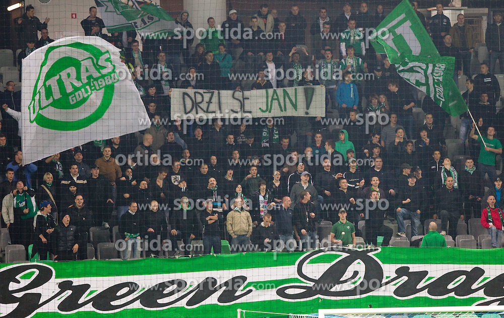 Green Dragons, fans of Olimpija during football match between NK Olimpija Ljubljana and Mura 05 in 17th Round of PrvaLiga 2011/2012, on November 6, 2011, in SRC Stozice, Ljubljana, Slovenia. Olimpija defeated Mura 3-1.  (Photo by Vid Ponikvar / Sportida)