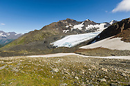 Raven Glacier at Crow Pass in the Chugach National Forest in Southcentral Alaska. Summer. Afternoon.