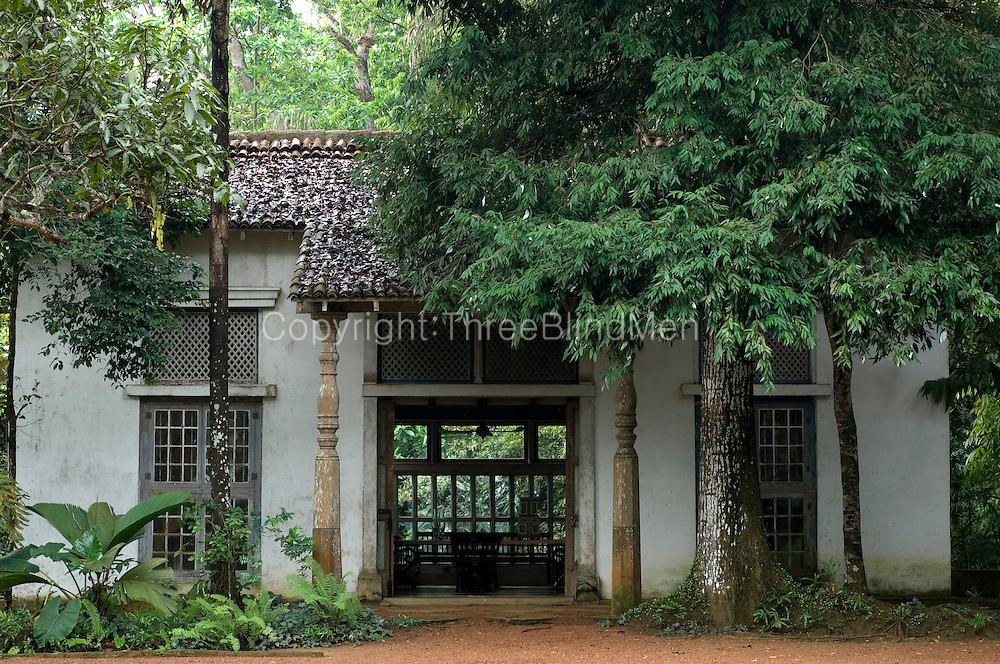 Looking across and into the Sandela Pavilion.<br /> LUNUGANGA. Geoffrey Bawa's garden and country home.