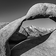 Mobius Arch And Mt Whitney - Alabama Hills CA - Black & White