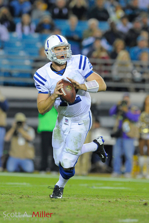 Indianapolis Colts quarterback Andrew Luck (12) during the Colts 27-10 win over the Jacksonville Jaguars at EverBank Field on November 8, 2012 in Jacksonville, Florida. ..©2012 Scott A. Miller..
