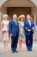 30-8-2014 - MAASTRICHT - Queen Maxima ,King Willem Alexander , King Philippe and Queen Mathilde of Belgium , Grand Duke Henri and Grand Duchess Maria Teresa of Luxembourg arrive at Gouvernement aan de Maas (offices of the provincial government). They will be greeted by the Governor, a delegation from the citizens&rsquo; militia, the St Caecilia Royal Brass Band from Puth and giant puppets.for the celebration to mark 200 years of the Kingdom.<br />   COPYRIGHT ROBIN UTRECHT