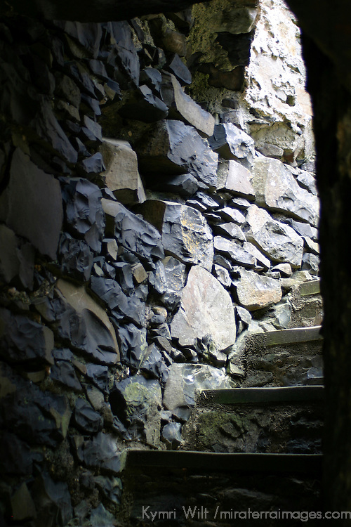 Europe, Ireland, Northern Ireland, Bushmills. Dunluce Castle interior stairs up tower.