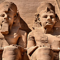 Pharaoh Ramesses II Statues at Temple of Ramesses in Abu Simbel, Egypt<br />