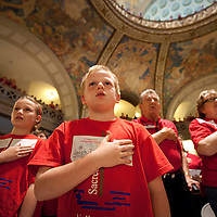 LISA JOHNSTON | lisajohnston@archstl.org  Jacob Echele, 9 and his sister Kathryn, 10, recited the Pledge of Allegiance in the rotunda of the Missouri State Capitol.  The siblings are parishioners at Sacred Heart in Valley Park and were attending the Rally for Religious Liberty in Jefferson City.