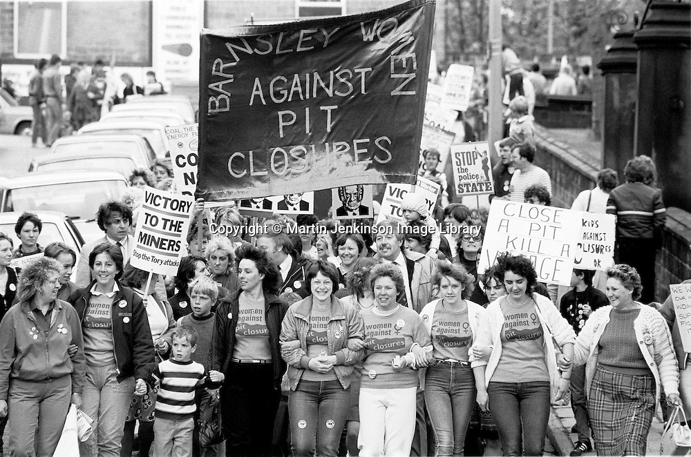 1st national women's march in support of striking miners, Barnsley. 12 May 1984...© Martin Jenkinson martin@pressphotos.co.uk  NUJ recommended terms & conditions apply. Copyright Designs & Patents Act 1988. Moral rights asserted credit required. No part of this photo to be stored, reproduced, manipulated or transmitted by any means without prior written permission.