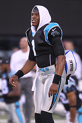 Aug 26, 2012; East Rutherford, NJ, USA; Carolina Panthers quarterback Cam Newton (1) during warmups for their game against the New York Jets at MetLife Stadium.