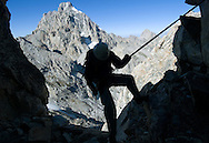 David Stubbs rappels from Nez Perce (ele. 11,901), Grand Teton National Park, Wyo.