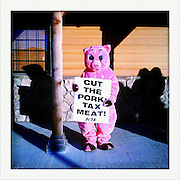 A PETA protestor demonstrates outside a Pizza Ranch Monday, January 2, 2012, in Newton, IA...Photo by Khue Bui
