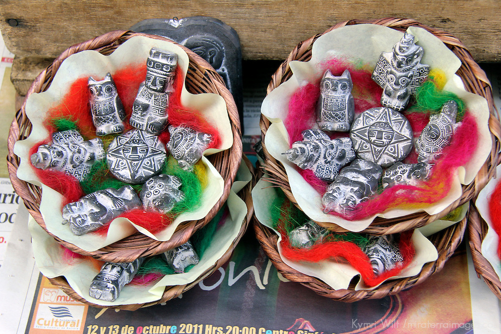 South America, Bolivia, La Paz. Supersticious charms from the Witch Doctor's Market of La Paz.