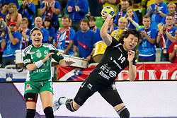 Liudmila Bodnieva of Krim during handball match between RK Krim Mercator and Gyori Audi ETO KC (HUN) in 3rd Round of Group B of EHF Women's Champions League 2012/13 on October 28, 2012 in Arena Stozice, Ljubljana, Slovenia. (Photo By Vid Ponikvar / Sportida)