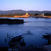 """At the point where Nam Ruak river meets Mekong river, the border of Burma (left), Laos (right) and Thailand (bottom) are meeting. That is the """"official"""" center of the Golden Triangle. Sop Ruak is the Thai town located there and it is often called Golden Triangle."""
