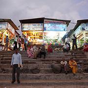 stret food stalls on Juhu Chowpati beach. Mumbai, August 2009