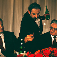 Serbian dictator and President Slobodan Milosevic (on left) sits beside Croatian president Franjo Tudjman,  1991. At a meeting of the heads of the states constituting the former Yugoslavia, in 1991 at the beginning of the troubles the engulfed the region.