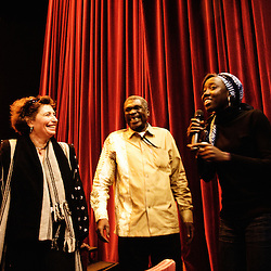 Introduction d'Angele Diabang-Brener et William Mbaye par Carin Leclerq au theatre Moliere. Festival des cinemas Africains a Ixelles, près de Bruxelles. 3 mars 2009. Photo : Antoine Doyen