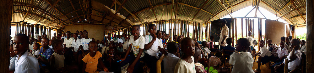 Inside one of the classroom of J.S Varfley school; this class includes K1, K2 and ABC pupils, Kingsville #7, Liberia.