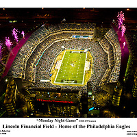 Aerial view of Philadlephia Eagles vs Cleveland Browns at Lincoln Financial Field on December 15th 2008 Monday Night Game during Pregame Ceremony.