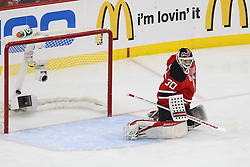 June 2; Newark, NJ, USA; Los Angeles Kings defenseman Drew Doughty (8) scores a goal past New Jersey Devils goalie Martin Brodeur (30) during the first period of the 2012 Stanley Cup Finals Game 2 at the Prudential Center.
