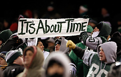 Jan 3, 2010; East Rutherford, NJ, USA; New York Jets fans celebrate during the second half at Giants Stadium. The Jets clinched a playoff spot with a 37-0 win over the Bengals.