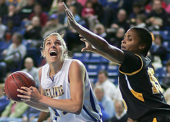 Delaware Forward (#11) Elena Delle Donne lead all scores with 31 points as Delaware defeated Towson 75-57 Wednesday at The Bob Carpenter Center In Newark Delaware Wednesday Night...Special to The News Journal/SAQUAN STIMPSON