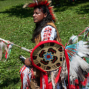 Portrait Carlos Eagle Feather, Mayan and Apache, Native American, dressed in Pow Wow Regalia.  <br /> <br /> Carlos in is a Thunderbird pow wow dancer at the Drums along the Hudson Pow Wow.<br /> Examples of ethnic pride, heritage, celebration, and traditional folk art crafts. <br /> <br /> Release # 2689