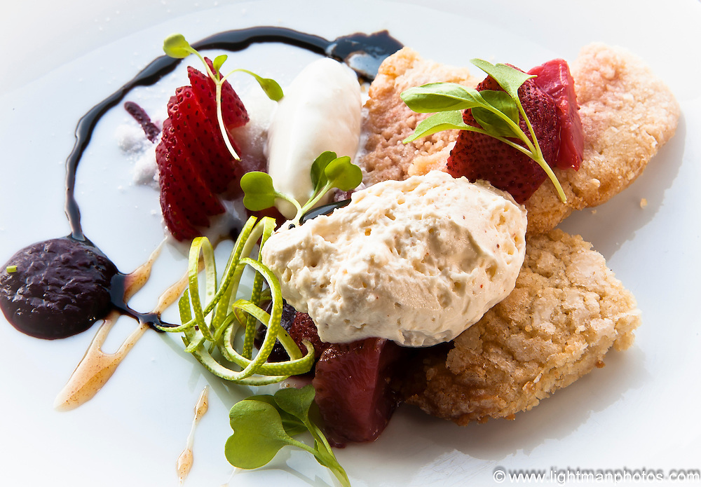 Shortcake Cookies with macerated strawberries, spiced whipped cream & ginger ice cream at Smith Commons.