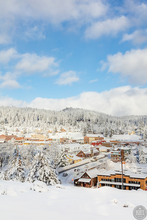 """Downtown Truckee 33"" - Photograph of a snowy historic Downtown Truckee, shot in the morning after a big snow storm."