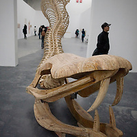 BEJING, MARCH 22, 2008:  the opening of  the<br /> &quot; House of Oracles&quot; , by Chinese superstar Huang Yonging. The House of oracles is the artists'  first retroperspective in China since he left China in the late eighties.