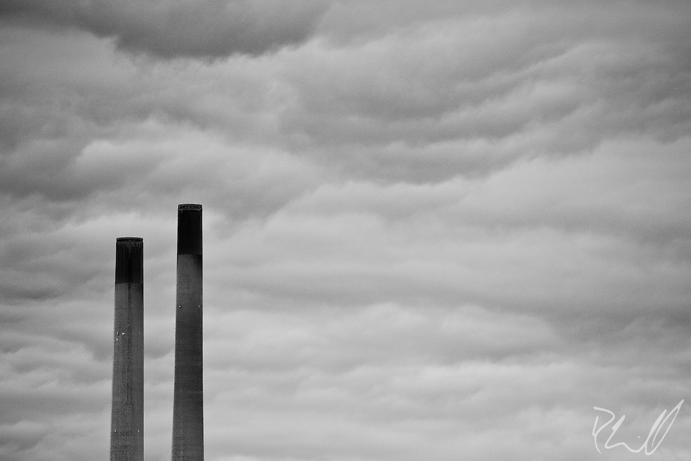 Smoke Stacks Rise Into the Clouds in Oswego, NY