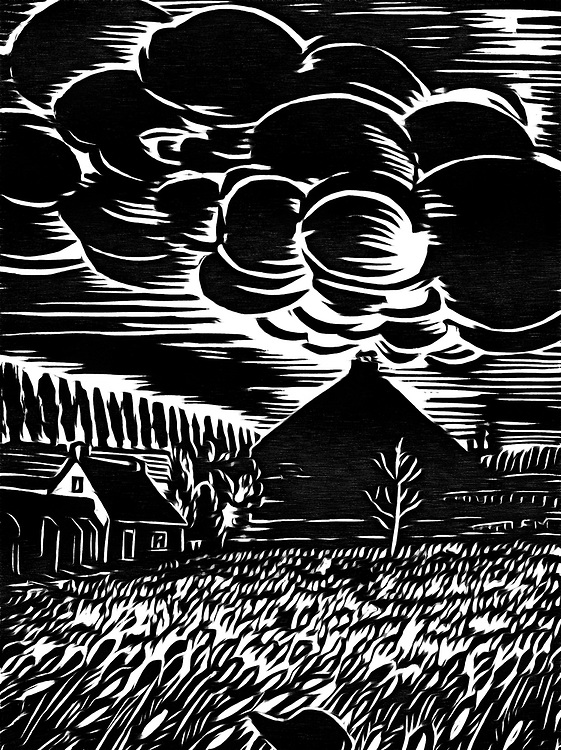 A black / white drawing of clouds above a house in the countryside
