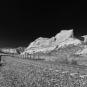 Mormon Rocks And Railroad Tracks - North View - Infrared Black & White