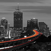 This selective color B&amp;W Boston skyline photography image is available as museum quality photography prints, canvas prints, acrylic prints or metal prints. Prints may be framed and matted to the individual liking and decorating needs: <br />