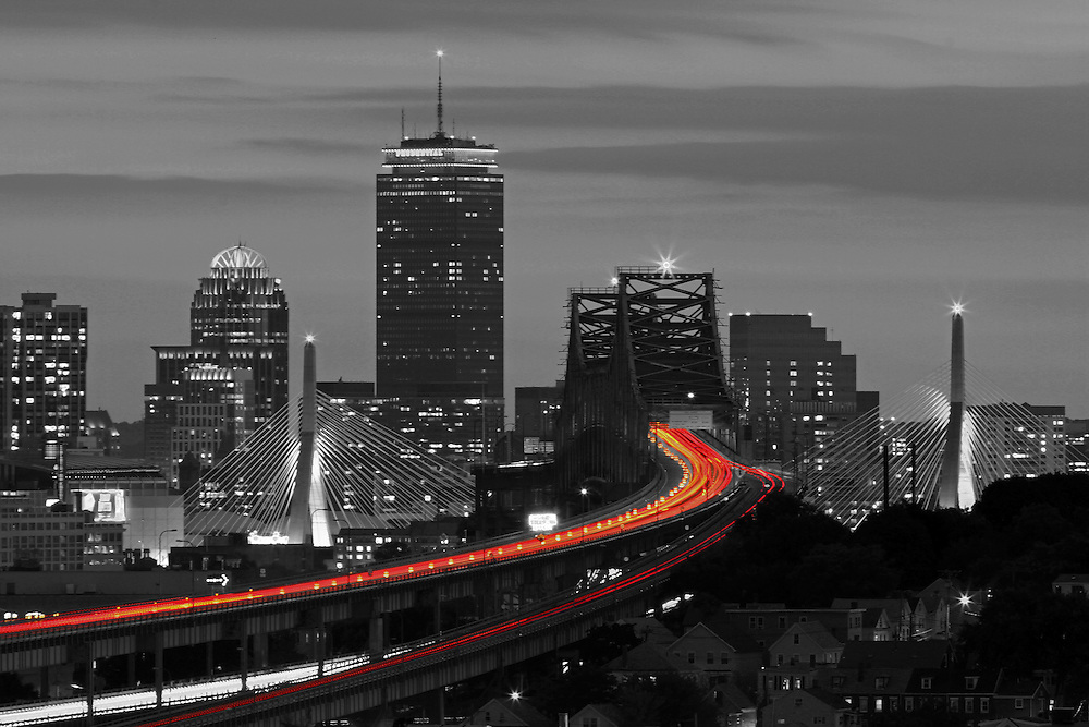 This selective color B&amp;W Boston skyline photography image is available as museum quality photography prints, canvas prints, acrylic prints or metal prints. Prints may be framed and matted to the individual liking and decorating needs: <br /> <br /> http://juergen-roth.pixels.com/featured/2-boston-lifeline-juergen-roth.html<br /> <br /> Beautiful selective color black and white Boston skyline night photography from award winning Boston fine art photographer Juergen Roth. The Boston skyline photography image was taken from Malone Park in the Boston neighborhood of Chelsea, Massachusetts featuring familiar Boston landmarks such as Boston Downtown, Prudential Center and famous historical landmarks such as the Zakim Bridge, Tobin Bridge and TD Bank Northgarden captured on a beautiful sunset night at twilight. <br /> <br /> Good light and happy photo making! <br /> <br /> My best, <br /> <br /> Juergen<br /> Website: www.RothGalleries.com<br /> Twitter: @NatureFineArt<br /> Facebook: https://www.facebook.com/naturefineart<br /> Instagram: https://www.instagram.com/rothgalleries