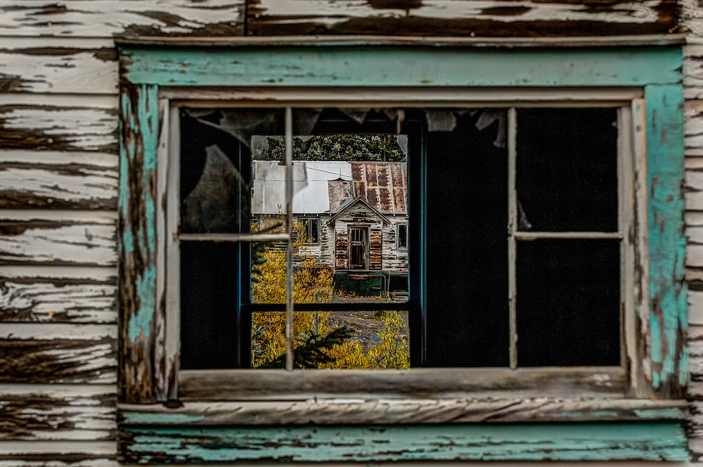 Looking Through The Windows Of One Mining Cabin To The Next, In The Red Mountain Mining District, That Lies Between Ouray And Silverton On Highway 550, Commonly Known As The Million Dollar Highway