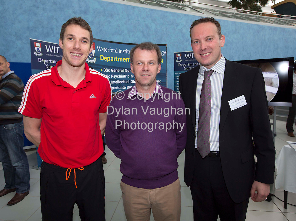 REPRO FREE.23/6/2012..Cian O'Connor, physiotherapist Dungarvan Co. Waterford; Dr Enda Sheehan, Waterford and Mr Patrick Carton pictured at the 2nd International Hip and Groin Sports Injury Symposium Whitfield Clinic 2012 at Waterford Institute of Technology...Picture Dylan Vaughan..