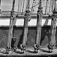 Steel rigging on a vintage whaling ship at Mystic Seaport, Mystic, Connecticut