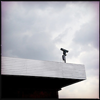 A security camera at the DMZ line in North Korea.