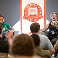 Treefort Music Festival, Storyfort/Hackfort at the Owyhee, Toiya Finley and Anne Lemay chatting about the gaming narratives and why they matter, Allison Corona photo.