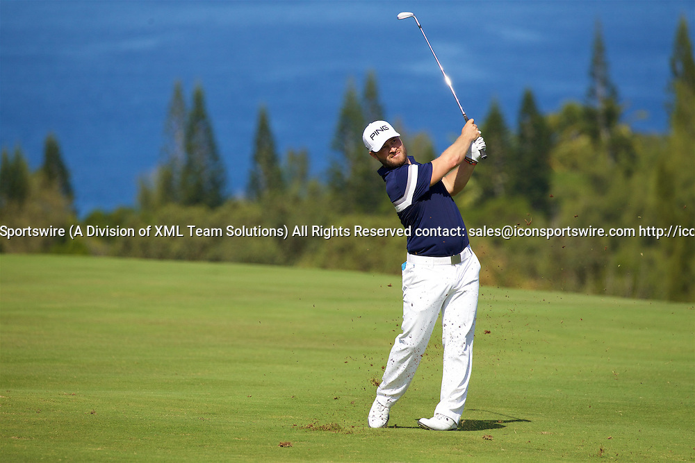 January 08 2016: David Lingmerth hits his second shot on number four during the Second Round of the Hyundai Tournament of Champions at Kapalua Plantation Course on Maui, HI. (Photo by Aric Becker/Icon Sportswire)