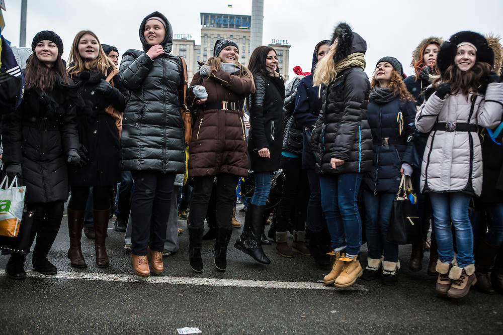 Students hop up and down in Independence Square during anti-government protests in Kiev. A common chant calls on protesters to jump in place, saying those who don't jump are sympathetic to the Russians.