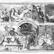 """Harper's Weekly November, 1860    """"Thanksgiving Day 1860 - The Two Great Classes of Society"""" by Winslow Homer.  """"Those who have more Dinners than appetite. Those who have more appetite than Dinners."""""""