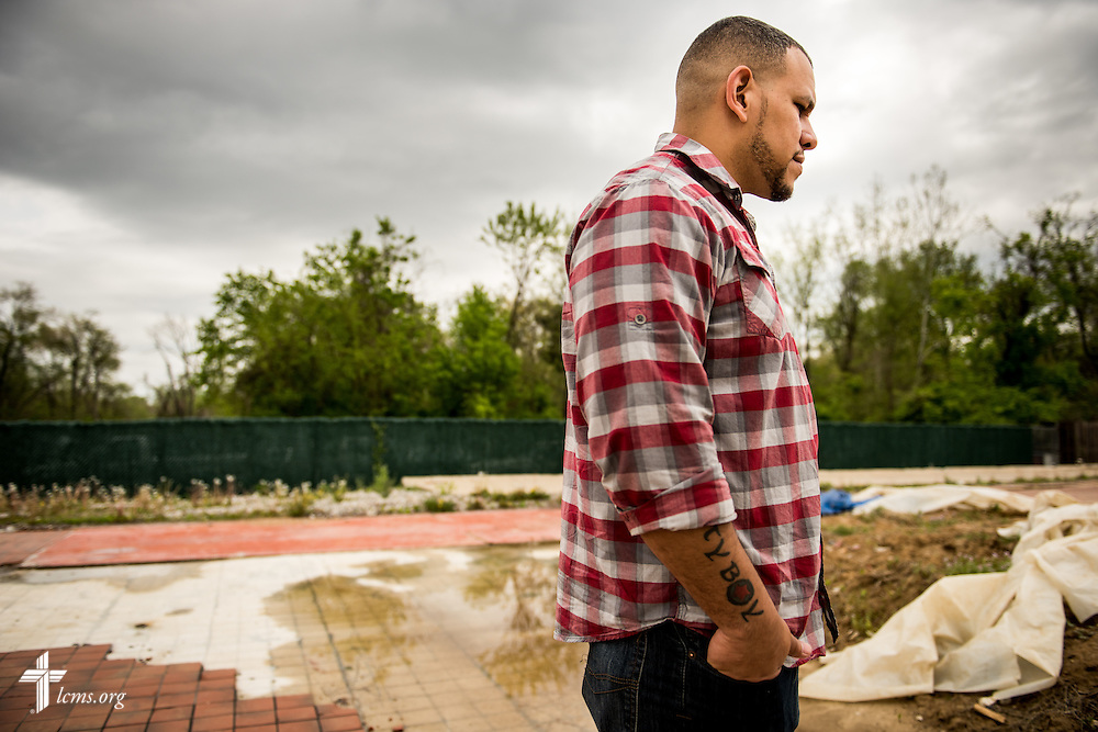 Micah Glenn, a fourth-year Master of Divinity student at Concordia Seminary, St. Louis and new national missionary to Ferguson, stands Wednesday, April 20, 2016, on the site of the former QuikTrip store in Ferguson, Missouri, which burned down amongst the unrest following the shooting death of Michael Brown almost two years ago. The Lutheran Hope Center of Ferguson will be built at the site as Glenn, who grew up in Ferguson, will be ministering to the community. LCMS Communications/Erik M. Lunsford