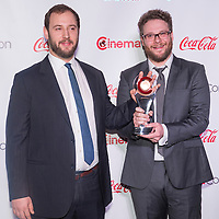 LAS VEGAS - MARCH 27:  Comedy Filmmakers of the Year award winners Evan Goldberg and Seth Rogen arrives at The CinemaCon Big Screen Achievement Awards at The Caesars Palace on March 27, 2014 in Las Vegas