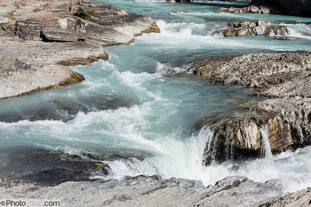The Kicking Horse River cuts through rock in Yoho National Park, British Columbia, Canada. Yoho is one of several Canadian Rocky Mountains parks which comprise a spectacular World Heritage Area listed by UNESCO in 1984.