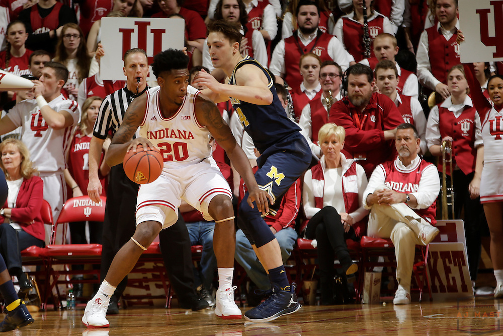 Indiana forward De'Ron Davis (20) in action as Michigan played Indiana in an NCCA college basketball game in Bloomington, Ind., Sunday, Feb. 12, 2017. (AJ Mast)